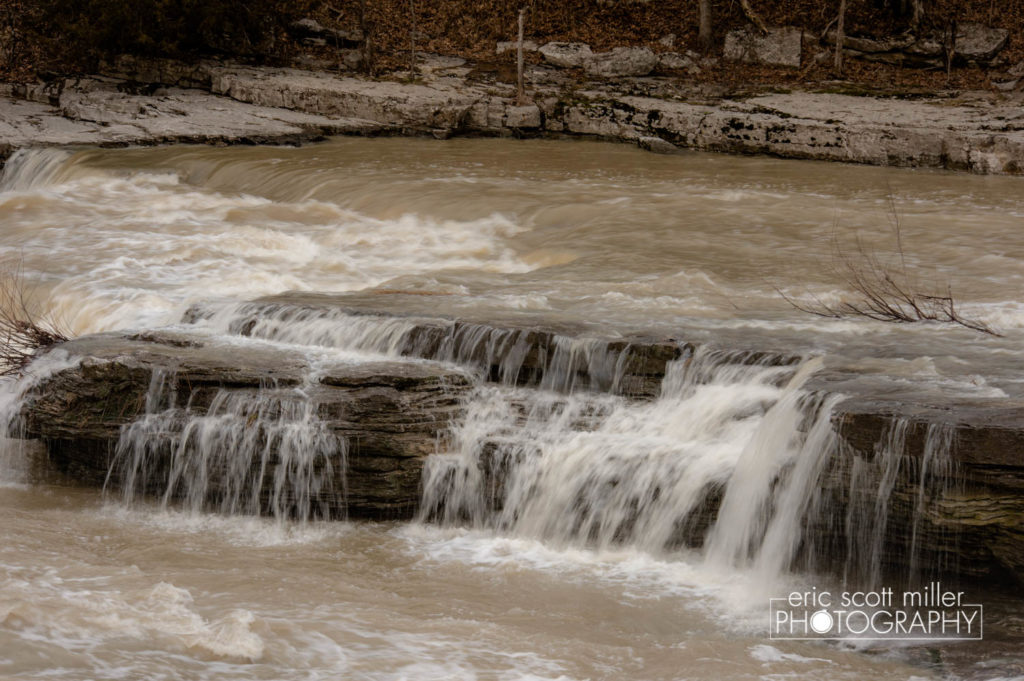 "Another view of the ""mini fall"" as the water flows downstream."
